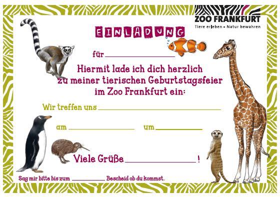 Einladungskarte In Den Zoo
